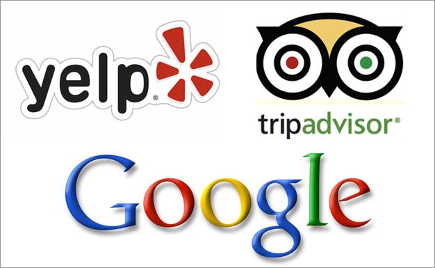 Google Yelp Tripadvisor